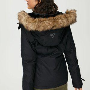 Aritzia TNA Black Winter Jacket With Faux Fur Hood